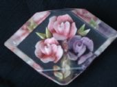 Lucite Brooch  Pink and Purple Roses  1940's/1950's era reverse-carved Sold)